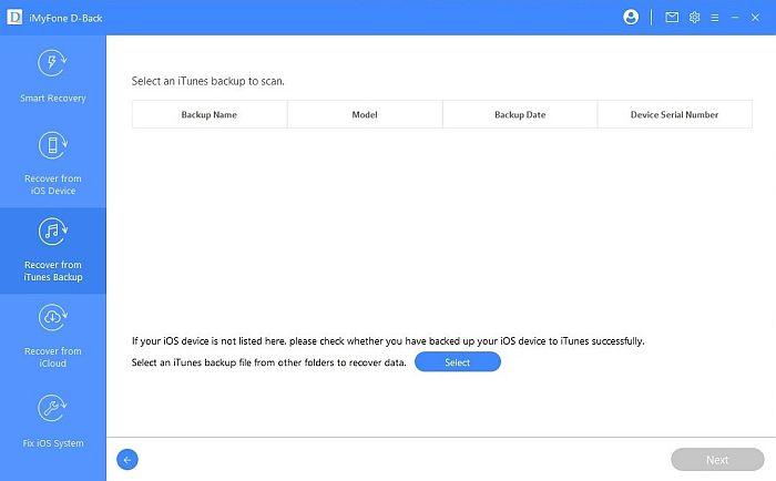 iMyFone iTunes Backup Scan