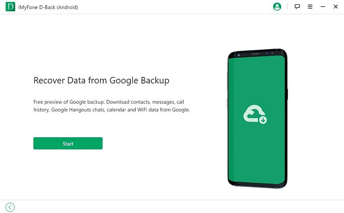 iMyFone D-back for Android Recover Data from Google Backup Page