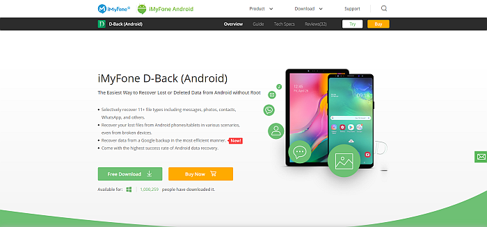 iMyFone D-Back Homepage