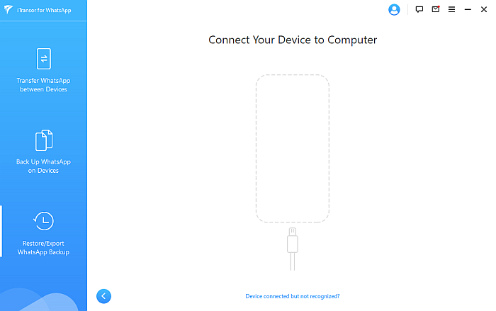 iTransor Connect Your Device to Computer Page