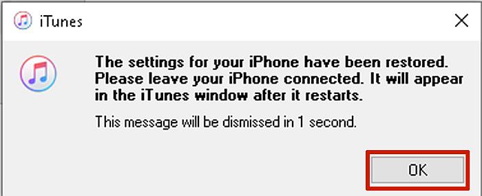 iTunes iPhone Restoration Successful Prompt