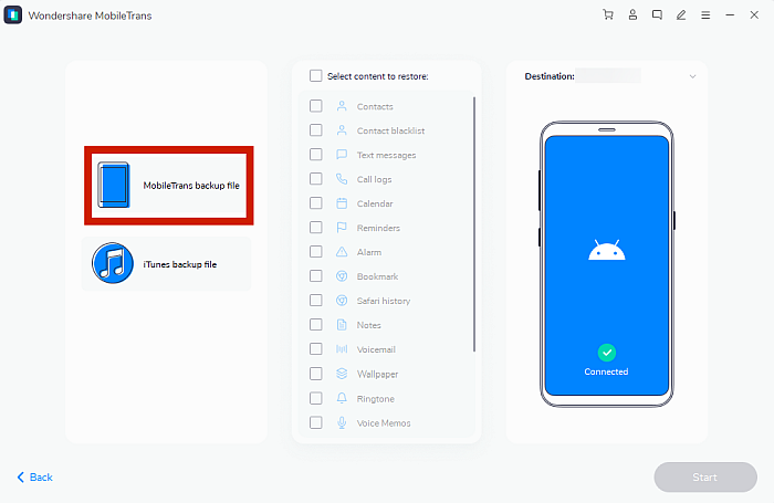 Mobile Trans Restore Page with MobileTrans Backup FIle Option Highlighted