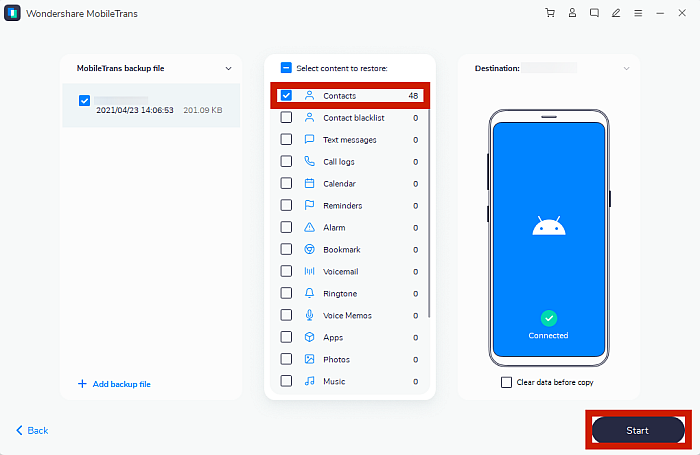 Mobile Trans Restore Page with Contacts Data and Start Button Highlighted