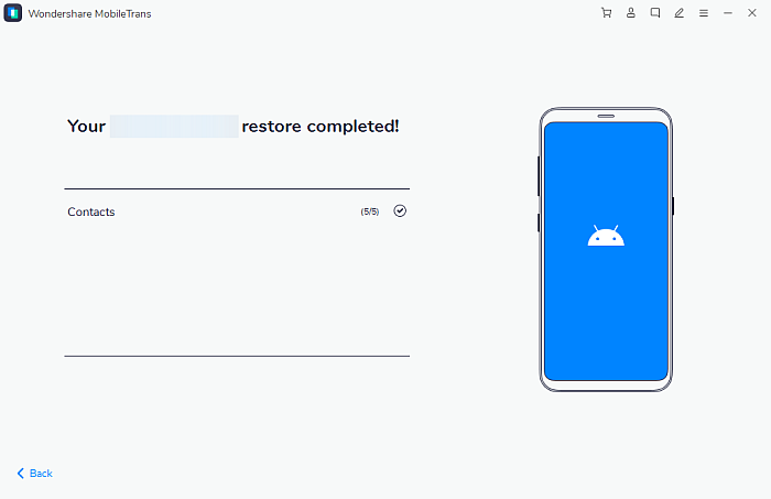 MobileTrans Data Resoration Completed Page