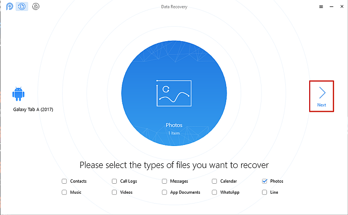 PhoneRescue File Type Recovery Selection Page With Next Button Highlighted