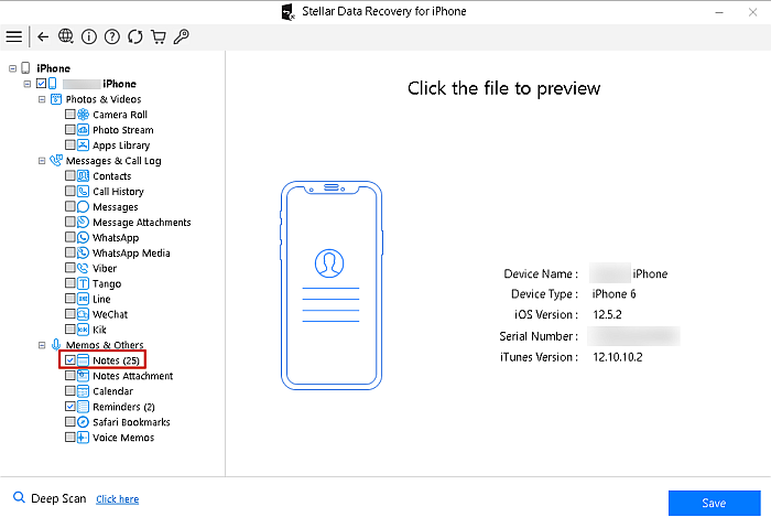 Stellar Data Recovery for Iphone Displaying Scanned Iphone Data