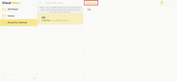 iCloud Notes Folder With Recover Option Highlighted