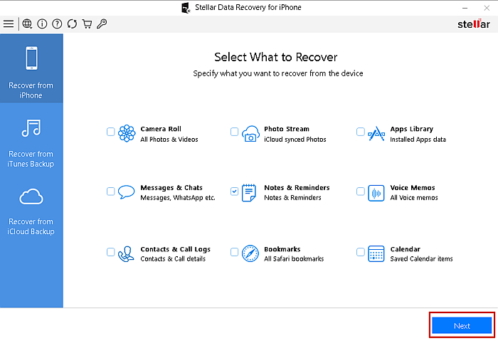 Stellar Data Recovery for Iphone- Select What to Recover Page with the Next Button Highlighted