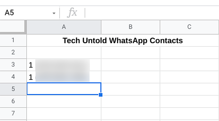Spreadsheet File for Tech Untold WhatsApp Contacts
