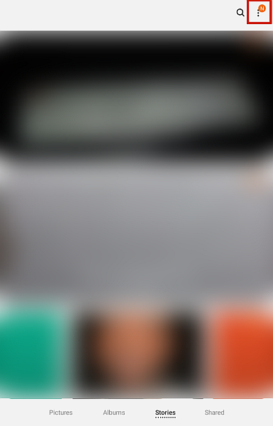 Samsung Galery App with Hamburger Button Highlighted