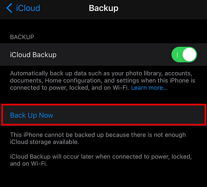 Screenshot of iCloud Backup panel in an iPhone with Back Up Now button highlighted