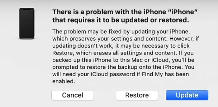 iTunes Restore/Update iPhone Prompt