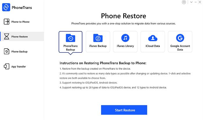 PhoneTrans App Phone Restore Tab