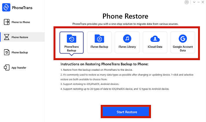 PhoneTrans App Phone Restore Tab with Phone Restore Options Highlighted