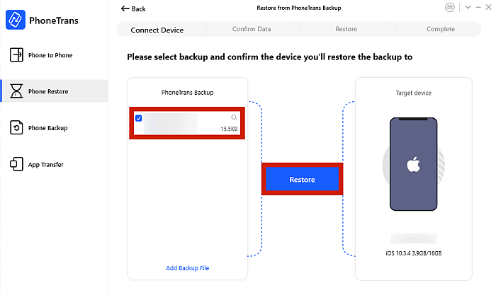 PhoneTrans Backup File Selection and Restore Button Option