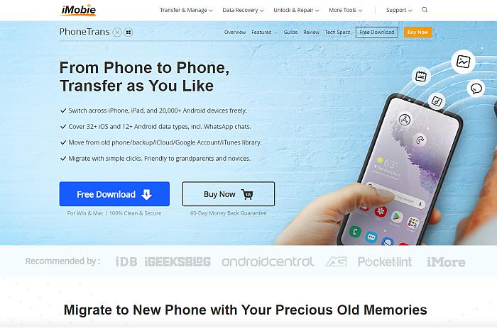 iMobie PhoneTrans Pro Homepage