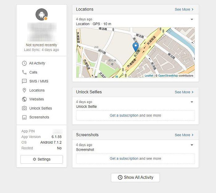 Snoopza linked device dashboard displaying basic device information