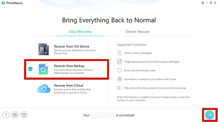 Phone Rescue Recover from Backup Option