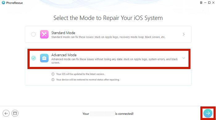 Mode Selection for iOS System Repair