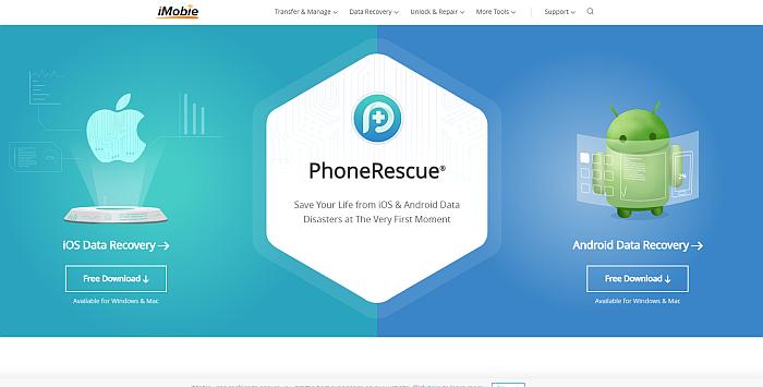 iMobie Phone Rescue Homepage