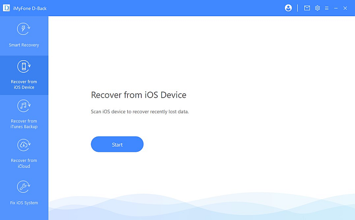iMyFone D-back Recover From iOS Device Option