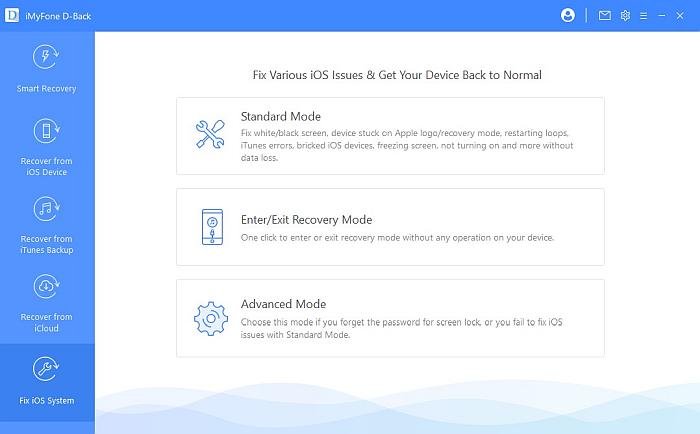 iMyFone D-back Fix iOS System Option
