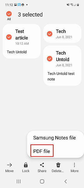 Selecting PDF File type for Sharing Android Notes