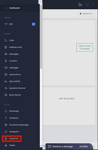 Umobix menu options with Snapchat option highlighted