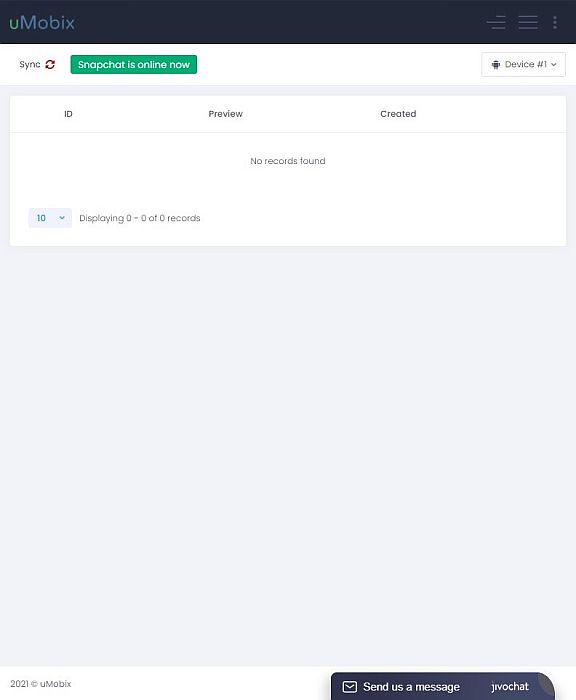 uMobix Snapchat Monitoring Dashboard