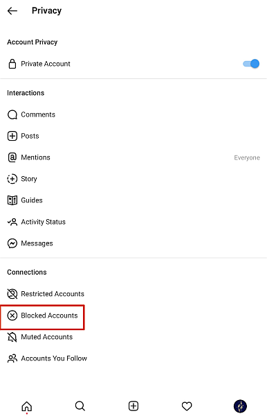 Screenshot of Instagram privacy settings age with Blocked Accounts option highlighted