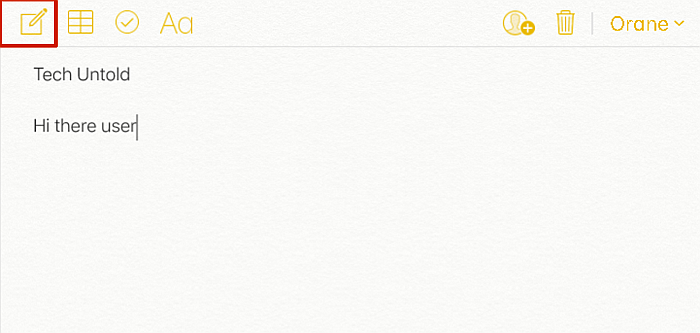 iCloud notes file with the new note button highlighted
