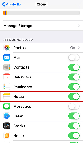 iCloud sync settings with Notes option Highligted