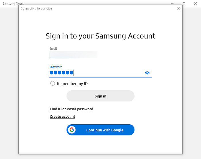 Samsung Cloud sign in page