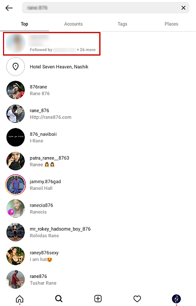Screenshot of  an Instagram search results page for an Instagram user search