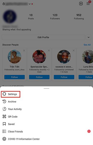Screenshot of Instagram menu options