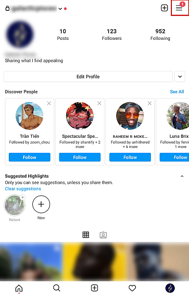 Screenshot of an Instagram profile page with the hamburger button highlighted