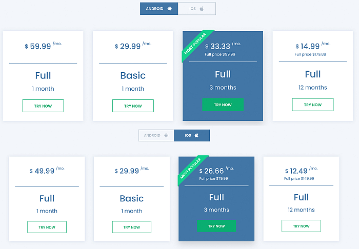 Umobix packages and pricing page