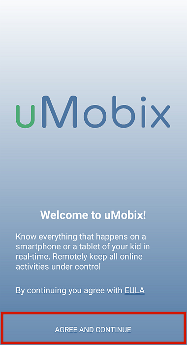 Umobix home screen with Agree and Continue button highlighted