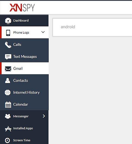 Xnspy Gmail monitoring tab