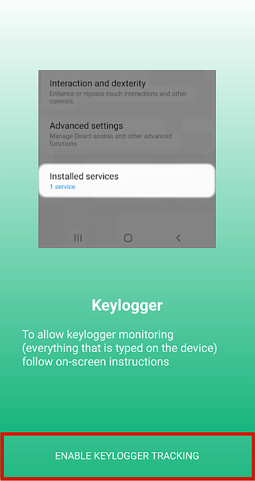 Umobix enable keylogger screen with Enable Keylogger Tracking button highlithted