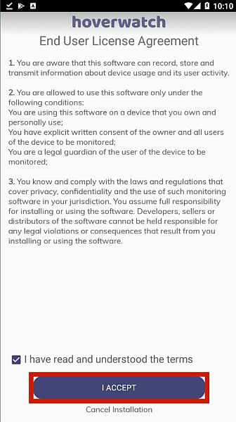 Hoverwatch En user License Agreement page