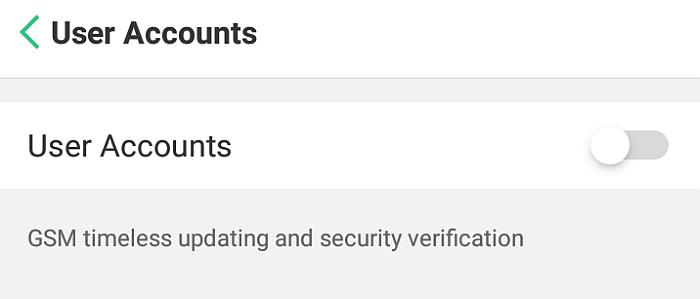 Umobix User Accounts tab