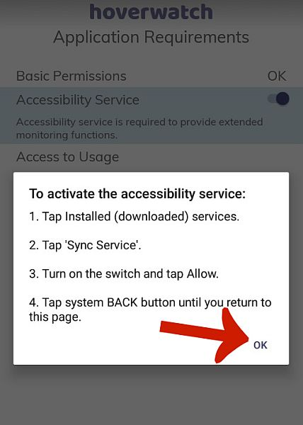 Hoverwatch accessibility service activation instruction pop up