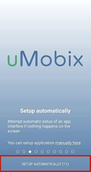 uMobix home screen with setup automatically button highlighted
