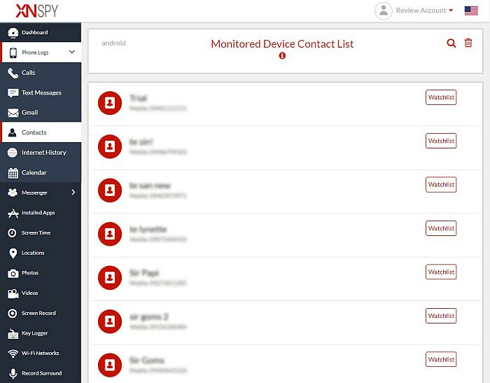 Xnspy monitored device's contact list
