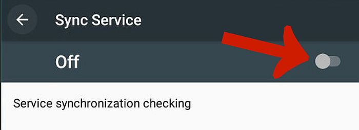 Android Sync Service tab with the Off/on toggle button pointed out