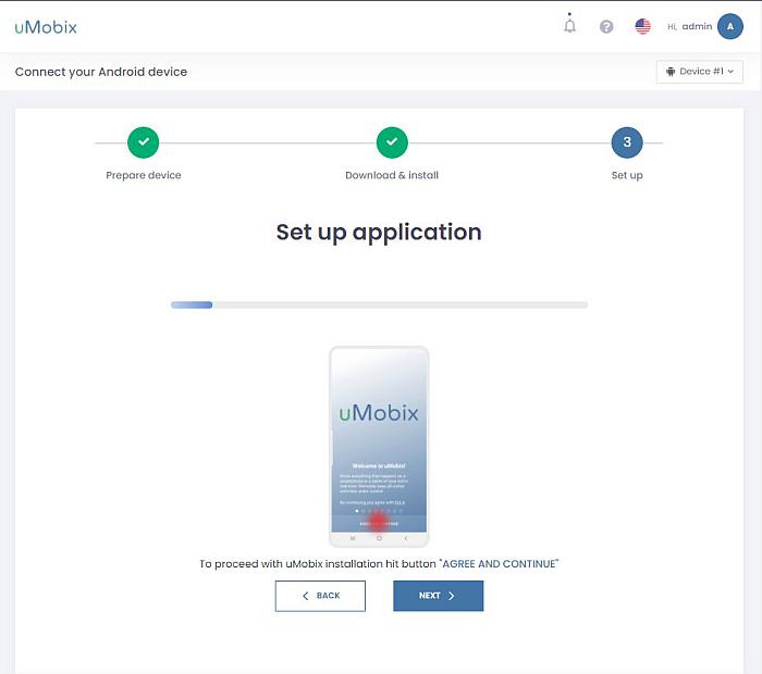 Umobix set up application progress window