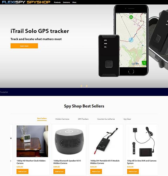 Flexispy Spyshop home page