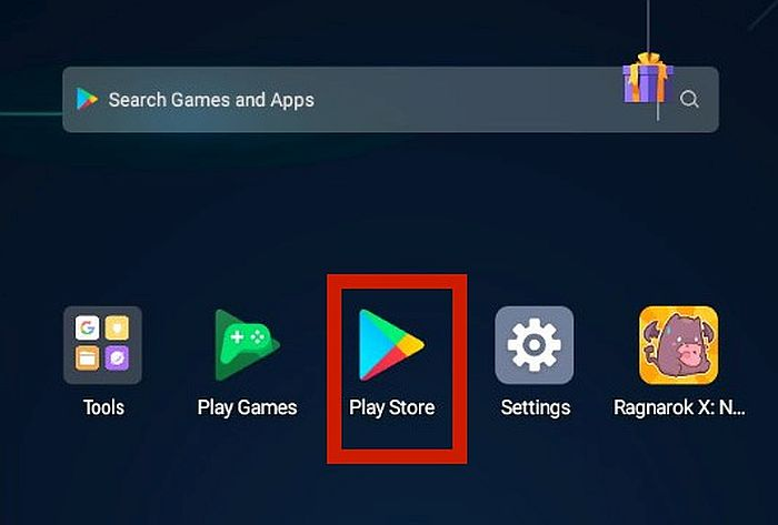 Android device home with the Play Store app highlighted