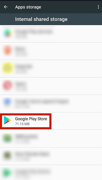 Android app storage settings with the  Google Play store app highlighted